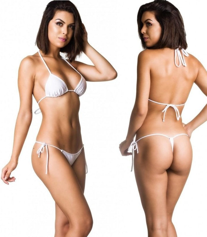 White - Tri Top and G String Thong Bottom Micro Bikini Set