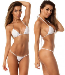 White - Tri Top and Micro Thong Bottom Bikini Set