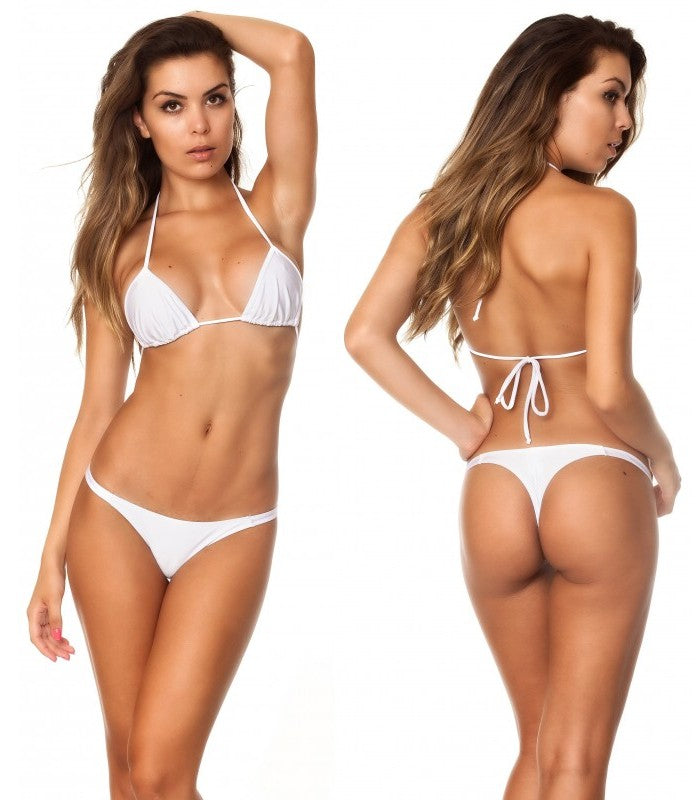 White - Tri Top and Thong Bottom Micro Bikini Set