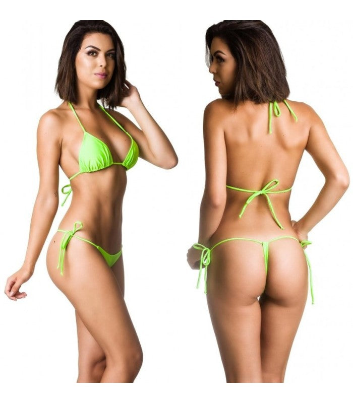 Neon Green - Tri Top and G String Thong Bottom Micro Bikini Set