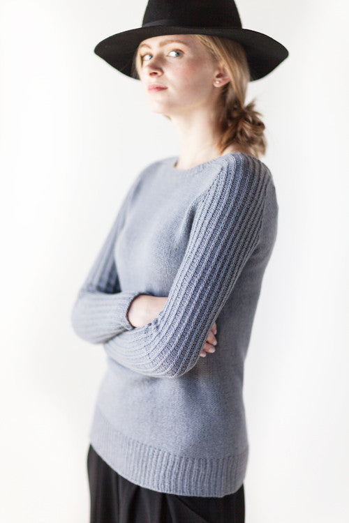 Woolfolk Ribbe - Top Down Hybrid Pullover