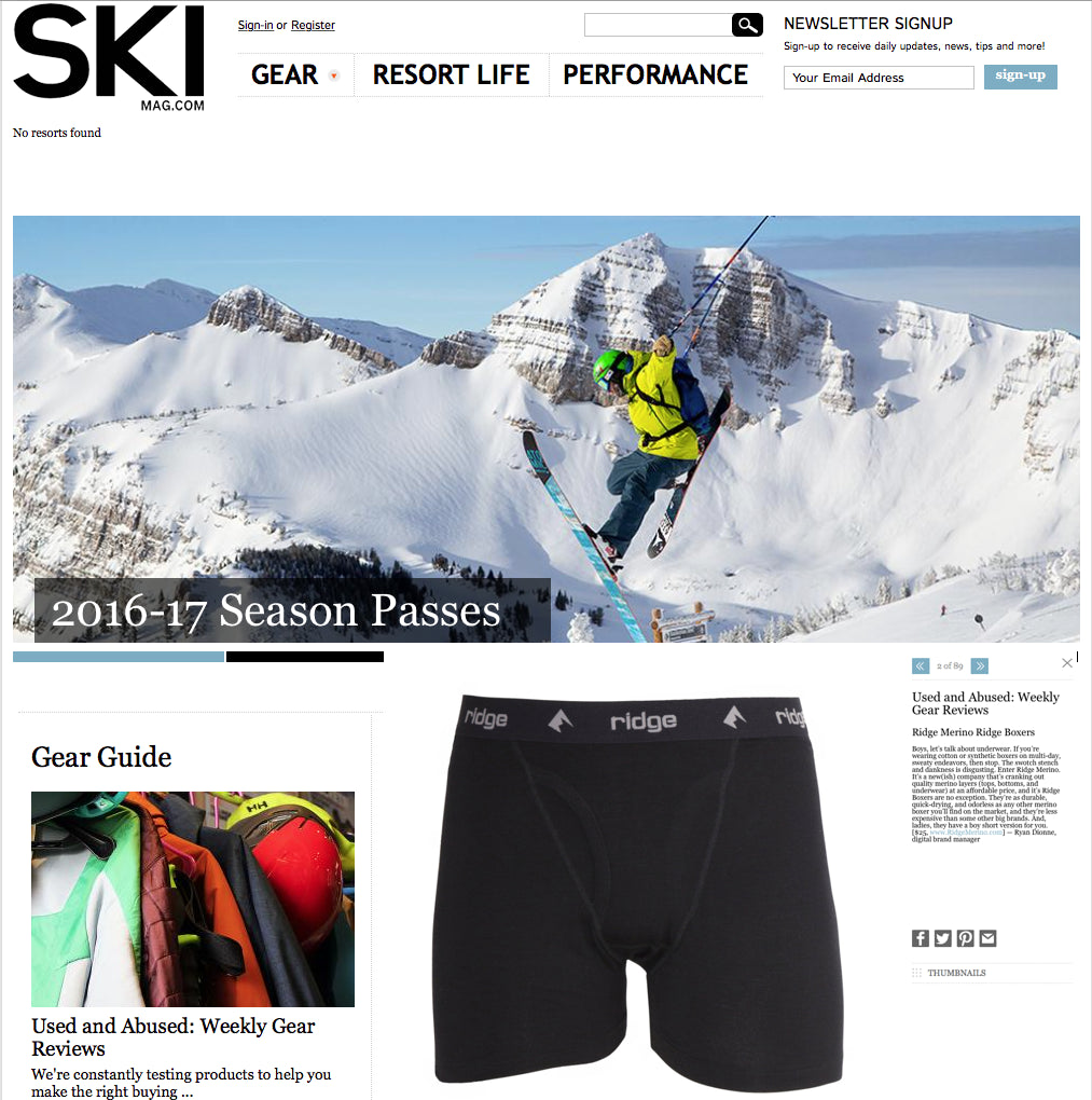 Ski Magazine's Great Review of Our Ridge Boxer and Women's Boy Short