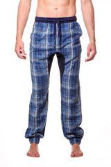 Plaid Drop Crotch Cotton Drawstring Jogger