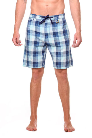 Plaid Drawstring Surf Short