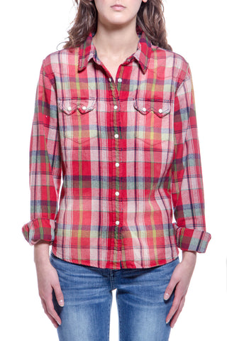 Womens Hawaiian Cowgirl Chunky Plaid Red