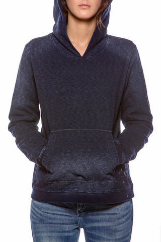Womens Washed Out Indigo Hoodie