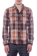 Mens Hawaiian Cowboy Chunky Plaid Brown