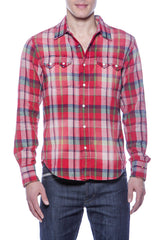 Mens Hawaiian Cowboy Chunky Plaid Red