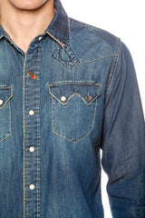 Mens Hawaiian Cowboy Denim Piping Vintage