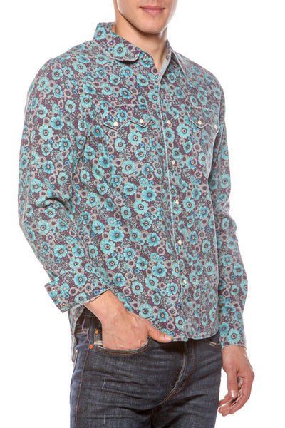 Mens Hawaiian Cowboy Blue Flower