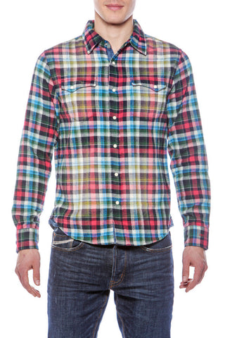 Mens Hawaiian Cowboy Plaid Emb Yoke Blue