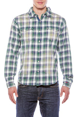 Mens Hawaiian Cowboy Plaid Emb Yoke Green