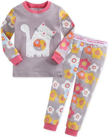 Children's Cotton Pajamas Kitty PJs Cat Jammies Set