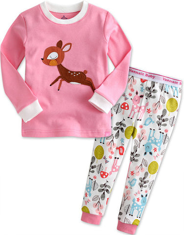 Children's Cotton Pajamas Pink Deer PJs Jammies Set