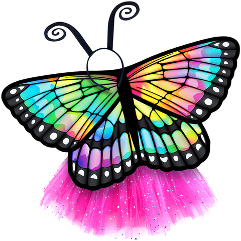 Butterfly Wings Girls Dance Outfit Kids Costume Wing Cape and Tutu