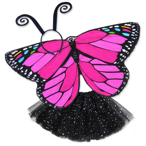Butterfly Halloween Costume Kids Pink Monarch Wing Cape Tutu Dance Wings
