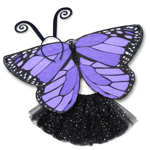 Butterfly Halloween Costume Kids Purple Monarch Wing Cape Tutu Dance Wings
