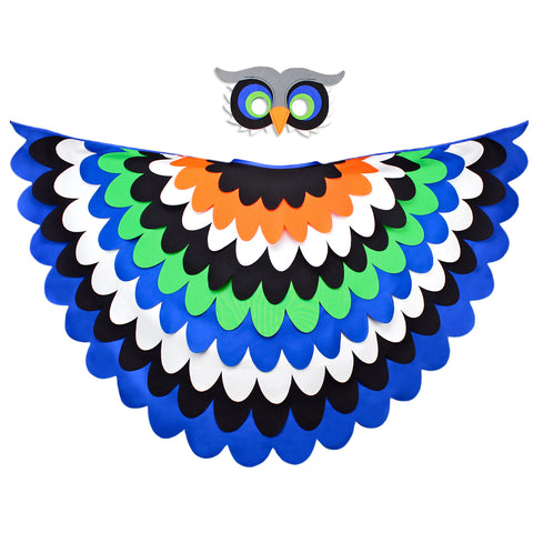Bird Cape Blue Bird Owl Costume with Kids Bird Wings and Mask