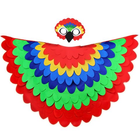 Bird Cape Parrot Costume with Kids Bird Wings and Mask