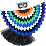 Bird Cape Girls Blue Owl Cape Kids Bird Costume with Owl Wings Mask and Tutu