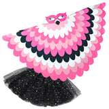 Bird Cape Girls Flamingo Costume Bird Cape and TuTu Kids Wings Mask and Tutu