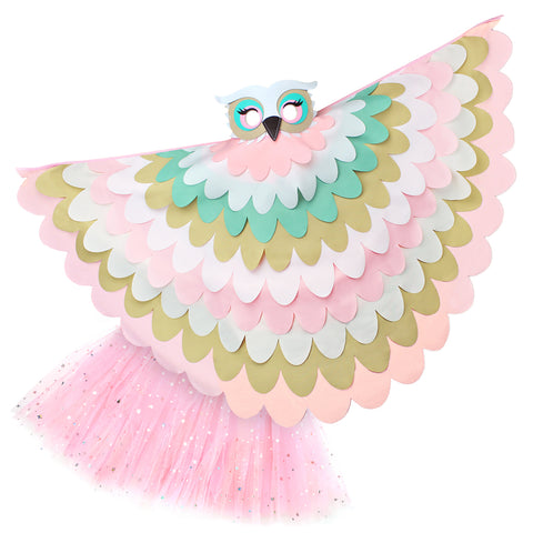 Bird Cape Girls Owl Cape Kids Pastel Bird Costume with Owl Wings Mask and Tutu