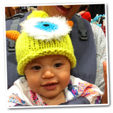 "Crocheted Baby Monster Hat Newborn Knit Cap Red ""Terri"""