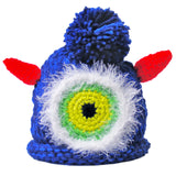 "Crocheted Baby Monster Hat Newborn Knit Cap Blue ""Jake"""
