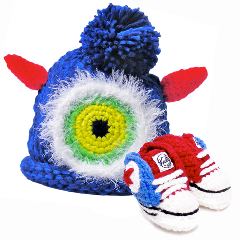 Knotty Kid - Crocheted Baby Booty Slippers Sneakers and Matching Knitted Baby Hat Blue