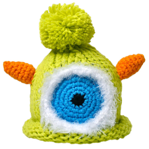 "Crocheted Baby Monster Hat Newborn Knit Cap Green ""Beek"""