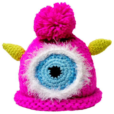 "Crocheted Baby Monster Hat Newborn Knit Cap Hot Pink ""Tee"""