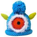 "Crocheted Baby Monster Hat Newborn Knit Cap Turquoise ""Kev"""