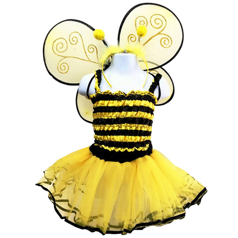 Knotty Kid - Girls 4 Piece Bumble Bee Costume Set with Sparkle Wings Top Tutu and Headband