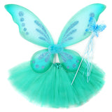 Knotty Kid - Girls 3 Piece Butterfly Costume Fairy Wing Set with Sparkle Wings Tutu and Wand