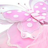 Girls Pink Butterfly Costume Fairy Wing Set with Sparkle Wings Tutu and Wand