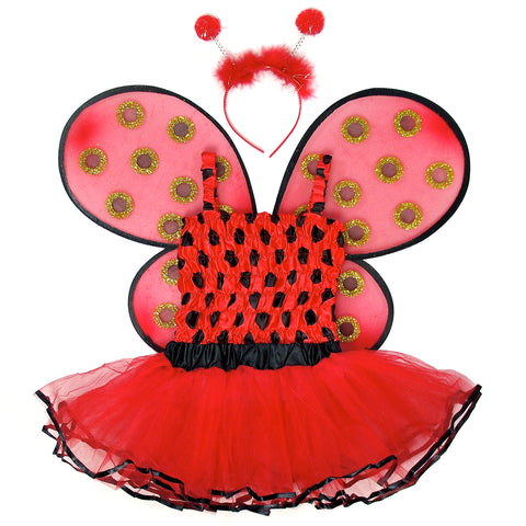 4-Piece Lady Bug Sparkle Costume Set with Wings, Tutu, Top & Headband