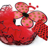 Knotty Kid - Girls 4 Piece Lady Bug Costume Set with Sparkle Wings Top Tutu and Headband