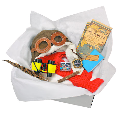 Childrens Explorer Adventurer Costume Box with Map Compass Binoculars & Other Adventure Accessories for Kids