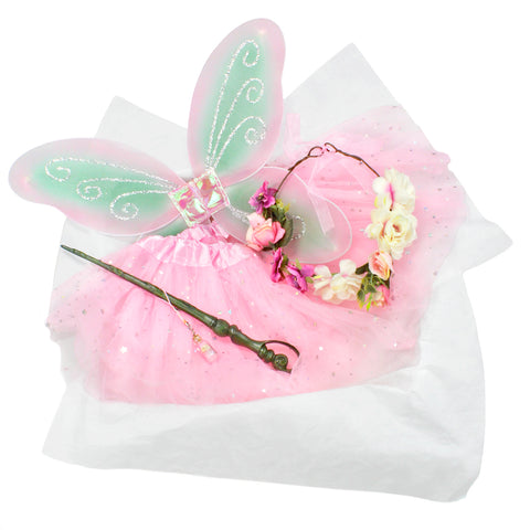 Childrens Fairy Costume Box with Wings Tutu Wand Flower Crown and Pixie Dust