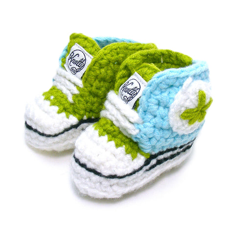 Knotty Kid - Crocheted Baby Booty Slippers Chuck Taylors Sneakers Green Blue
