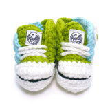 Crochet Baby Booty Green & Blue Slippers Sneakers Chuck Taylors