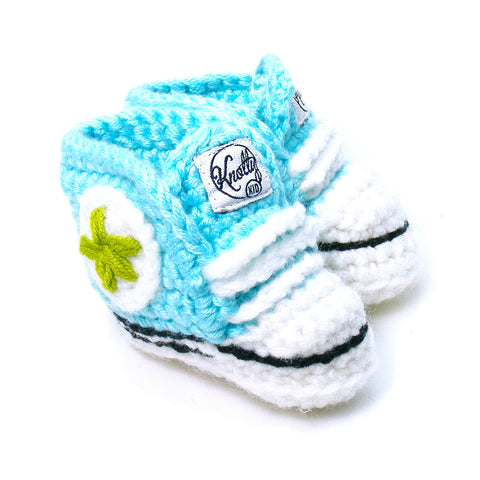 Knotty Kid - Crocheted Baby Booty Slippers Chuck Taylors Sneakers Aqua