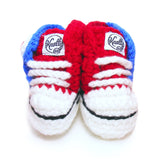 Crochet Baby Booty Red & Blue Slippers Sneakers Chuck Taylors