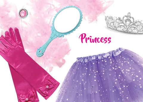 Childrens Fairy Princess Box with Feather Boa Gloves Tiara and Magic Mirror