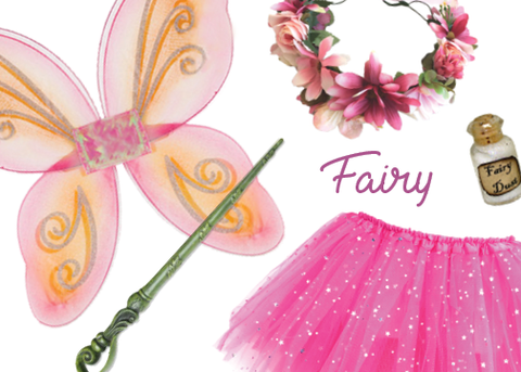 Knotty Kid - Girls Fairy Costume Box with Wings Tutu Wand Flower Crown and Pixie Dust