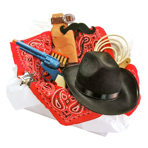 Childrens Cowboy Costume Box with Felt Mustache, Hat, Toy Pistol & other Cowboy Accessories for Kids