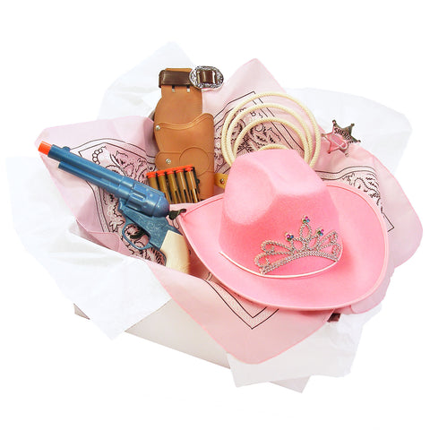 Knotty Kid - Cowgirl Costume Box with Pink Cowboy Hat Lasso and other Accessories for Kids