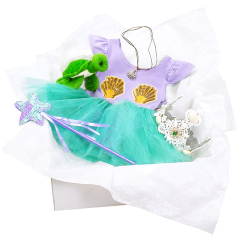 Knotty Kid - Childrens Mermaid Costume Box with Dress Crown Turtle and Accessories for Kids