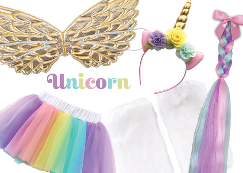 Childrens Unicorn Costume Box with Unicorn Tail, Headband, Wings, and Tutu
