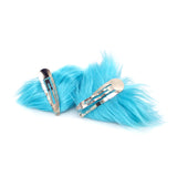 Faux Fur Party Accessory Costume Furry Ear Clips — Blue